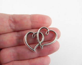 10 Double Heart Silver Plated Pewter Connector Links - 23mm x 31mm
