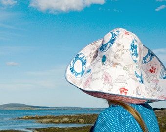 Fabulous Sun Hat Tea Party Over the Top Reversible Broad Brim Summer Style Womens Indigo Blue Red White Picnic Check Lawn or Garden Party