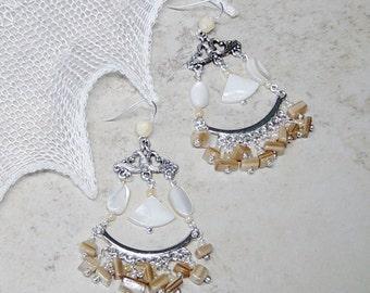 Shell Bead Chandelier Earrings, Mother of Pearl Shell Bead Earrings, Silver Chandelier Bead Earrings, Boho, Hippie, Beach