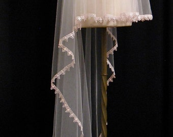 Waltz Length Blush Pink Drop Veil With Blush Lace