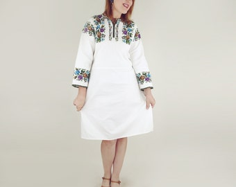 Turkish Vintage Hand Embroidered Cotton Dress L
