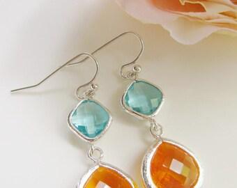 Aqua and Tangerine Earrings, Tangerine Orange Glass Dangle, Two Glass Gemstone, Silver Edged, Bridesmaid Earrings