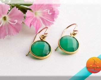 Women's Petite Dangle, Green Onyx Earrings, on Gold Fill earwire, gold over sterling silver stone setting, Summer Fashion Accessory