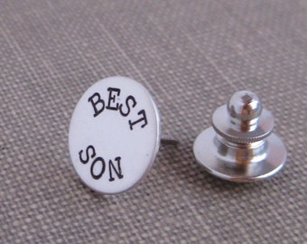 Tie Tac or Lapel Pin-Customized Hand Stamped  In Sterling Silver
