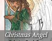 Printable Coloring Book Page for Adults - Christmas Angel Holding a Candle with Decorative Border in Art Nouveau Style Line Art