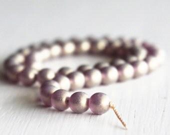 50 Amethyst Gold Dust 6mm Rounds - Czech Glass Beads