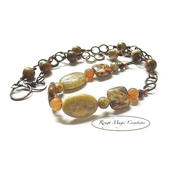 Safari Jasper Gemstone Necklace, Earthy Stones, Rustic Antique Copper Chain, Boho Bohemian Jewelry