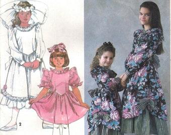 1990s Simplicity 8144 UNCUT Vintage Sewing Pattern Girls Romantic Party Dress, Full Skirt Dress, Formal Dress Size 3 - 4- 5 - 6