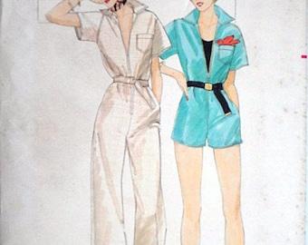 Butterick 7469 Vintage 70's Sewing Pattern, Misses' Jumpsuit, Size 10, 32 1/2 Bust