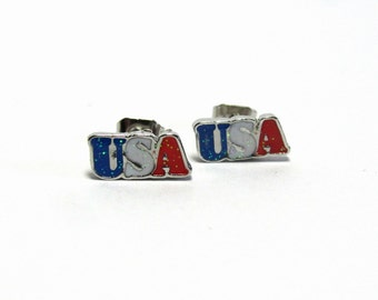 USA Earrings, American Mini Stud Earrings, Red White and Blue Patriotic Jewelry, Tiny July 4th Stud Earrings