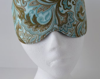 Paisley Brown & Turquoise Eye Mask for Sleep or Travel ~ Perfect Christmas Gift ~ READY TO SHIP