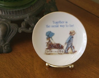COME TOGETHER: Vintage 1978 Collectible Holly & Robby Hobbie Porcelain Miniature Plate, Together is the Nicest Way To Be, Perfect Condition