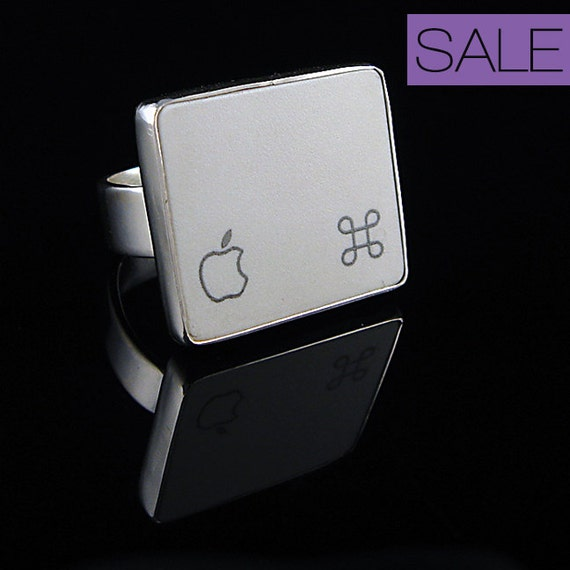 SALE - Computer Key Jewelry - rePURPOSED Black or White Apple Logo MacBook Command Key v1 Sterling Silver Ring
