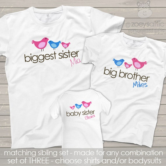 Matching sibling shirts - set full flock of THREE original pecking order shirts big little middle brothers and sisters (or to be)