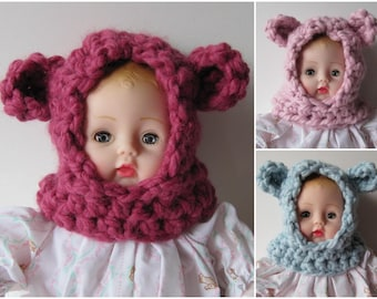 Huggums Doll Bear Hood, Crocheted Bear Hat, Crochet Doll Clothes,  Fits Huggums, You Choose One Color; Raspberry, Baby Blue or Pale Pink