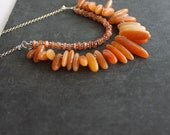 Rust Orange Fringe Multistrand Bib Necklace - Sunstone, Red Aventurine, Sterling Silver Gemstone Boho Jewellery