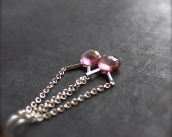 Pink Mystic Quartz Chain Dangle Earrings - Sterling Silver, Drop Earrings, Swing Earrings, Gemstone Jewellery