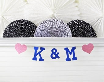 Glitter Initials Banner - 5 inch Letters with Hearts - Initials Wedding Banner Wedding Photo Prop Bridal Shower Banner Engagement Banner