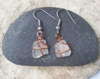 Lake Michigan beach glass earrings - white sea glass earrings - birthday gift for mom - 40th birthday gift for her