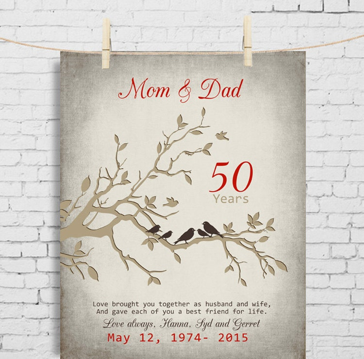 Gift Ideas For 50th Wedding Anniversary For Parents: 50th Wedding Anniversary Gift Anniversary Gift For By