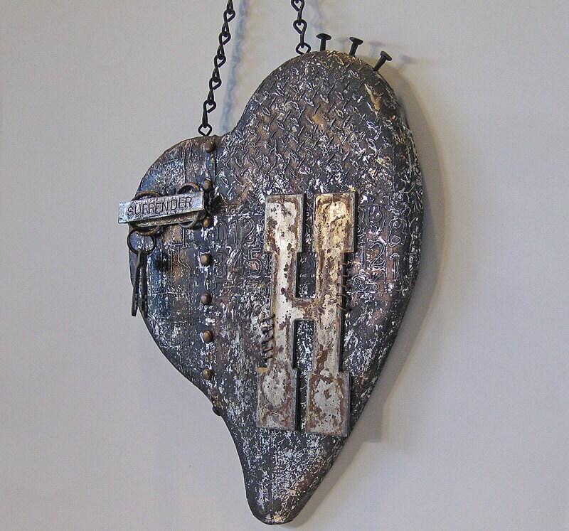 metal heart wall hanging metal assemblage heart assemblage. Black Bedroom Furniture Sets. Home Design Ideas