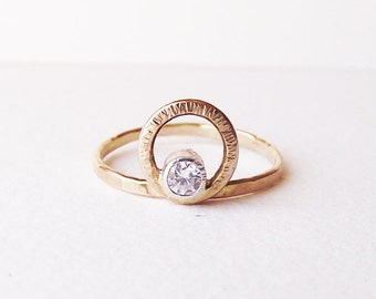 14K Gold Moissanite Engagement ring, You Are My Sun and Moon