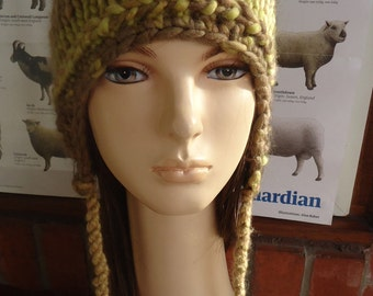 soft cuddly Indie wool yellow brown ear flap cap hat by irish granny