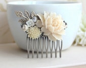 Soft Ivory Flowers, Ivory Chrysanthemum, Pearl, Brass Leaf Flower Wedding Hair Comb. Bridesmaids Gift Comb, Woodland Country Nature Wedding