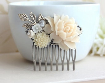 Shades of Ivory Flower Comb, Brass Leaf Branch Comb, Ivory Flower Collage Hair Wedding Comb Bridesmaids Comb Woodland Country Nature Wedding