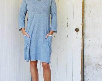 Hemp Long Sleeve Passport Pocket Dress - Hemp and Organic Cotton Jersey - Made to Order - Eco Fashion