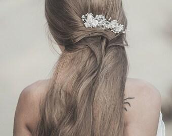 Wedding Headpiece, Bridal Hair Comb, Pearl Hair Piece , Wedding Hair Comb, Freshwater Pearl Comb, Hair Piece, White Opal Hair Comb