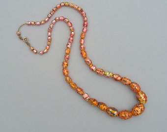 Antique Foil Glass Necklace. Rare Coral Peach Gold. Long Graduated Strand. Olive Beads.