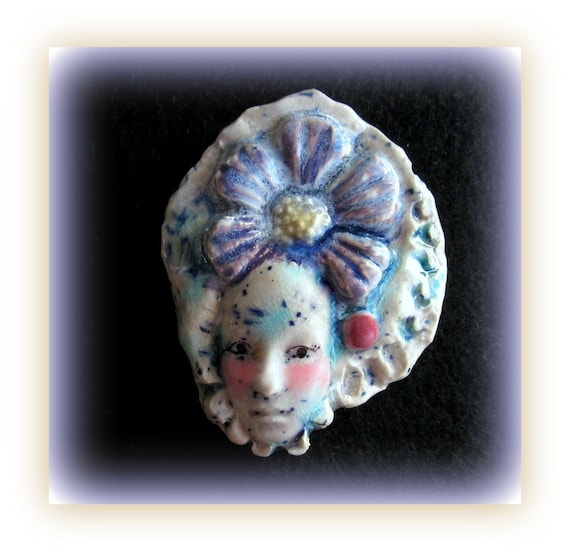Handmade bead,Focal Bead, Face bead, Ceramic bead, Pink bead, Purple bead    #21