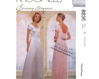 Evening Dress Pattern McCalls 8836 Low Back Dress Detachable Train Wedding Gown Womens Sewing Pattern Size 8 10 12 or 12 14 16 UNCUT