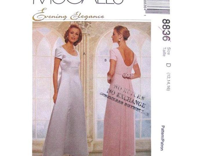 Low Back Evening Dress Pattern McCalls 8836 Detachable Train Wedding Size 8 10 12 or 12 14 16