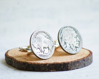 Buffalo Nickel Cuff Links Indian Head Vintage Coin Rustic Wedding Groom Silver Guy Gift Country Western Father's Day