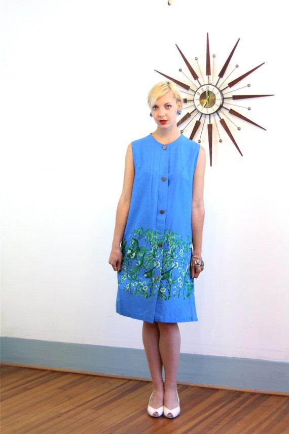 Mod 60s dress, vintage 1960s dress, blue bird print, bamboo pattern, tiki Hawaiian dress, sleeveless 60s dress, A line shift dress, Mad Men