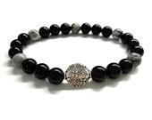 Men's Bead Bracelet. Men's Stone Jewelry. Stretch Bracelet. Black Onyx, Gray Jasper Stone Bracelet. Gemstone Jewelry. Gift for Him and Her