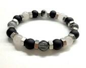 Cool Men's Bead Bracelet. Hex Nut Bracelet. Black Onyx, Quartz Stone Bracelet. Men's Stone Jewelry. Stretch Bracelet. Elastic Bracelet