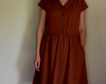 Vintage County Fair: Vneck Organic Cotton Jersey Knit Dress with Pockets Gathered Women's Organic Cotton Clothing