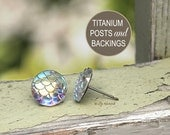 Dragon Scale Studs on Titanium Posts, Shimmery Iridescent Earrings, 12mm