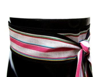 Pirate Sash - Fabric Belt - LARP Costumes - Boho Hippie Clothes - Guatemalan Fabric - Striped Clothing - Black & White Woven Sash SA31