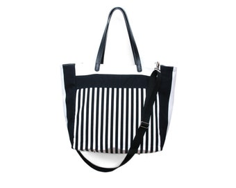 Grace Tote Bag, Diaper Bag, Shopper, Carry all tote, Beach Bag,13 pockets, Black & white stripes, cotton, faux leather straps, summer purse