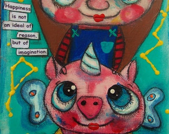 Riding my Flying Unicorn Winged Pig Original Painting