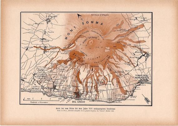 1900 VOLCANO MOUNT VESUVIUS & somma print original antique lithograph - stratovolcano in the Gulf of Naples, Italy - Pompeii and Herculaneum