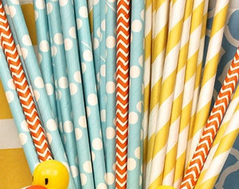 Paper Straws, 25 Rubber Ducky Paper Straws, Paper Drinking Straws, Chevron Straws, Striped Paper Straws, Baby Reveal Party, Baby's Birthday