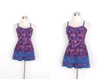 Vintage 1950s Playsuit / 50s Cotton Batik Romper Swimsuit / Blue and Purple (medium M)
