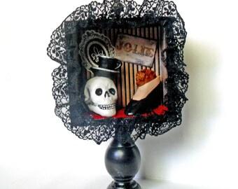 Gothic Shadow Box - Skull Art - French Gothic - Gothic Burlesque