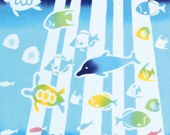 Japanese Tenugui Towel Cotton Fabric, Submarine, Fish Fabric, Blue Sea, Hand Dyed Fabric, Colorful Modern Art Fabric, Home Decor, k089