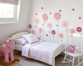 Flower Wall Decal - Daisy Wall Sticker - Floral Wall Decor - Childrens Flowers - Baby Nursery Flower Decals - Nursery Decal Girls Room